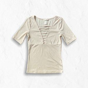 H&M Cream Ribbed Cage Plunge V-neck Tee XS